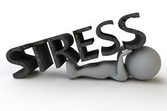 Under Stress. A man lying under and trying to prop-up the word stress Stock Images