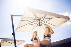 Under the sunshade Stock Photography