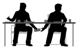 Under the table deal. EPS8 editable vector illustration of two businessmen making a secret deal under the table Stock Photo