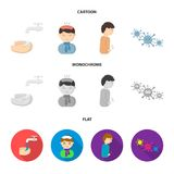 Under a tap with water wash their hands, the patient with a hot-water bottle with ice on his head in a scarf, a man has. Abdominal pain, viruses, microbes. Sick stock illustration