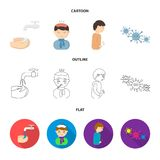 Under a tap with water wash their hands, the patient with a hot-water bottle with ice on his head in a scarf, a man has. Abdominal pain, viruses, microbes. Sick vector illustration