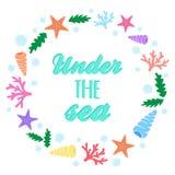 Under The Sea Marine Wreath Royalty Free Stock Photos