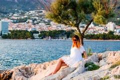 Under trädet på sjösidan i Makarska Kroatien arkivbilder
