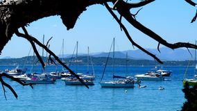 Under the Tree. Boats at anchor off coast of Porquerolles island, France Stock Images