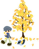 Under the tree of ginkgo Royalty Free Stock Photography