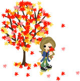 Under the tree of scarlet maple leaves Stock Photography