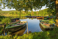 Under the trees, boats in the harbor at Lake stock image