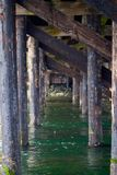 Under the trestle at the entrance to the lagoon Royalty Free Stock Images