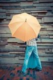 Under the umbrella. stock photography