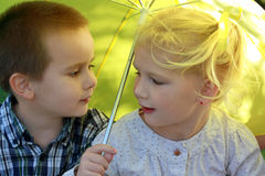 Under umbrella Royalty Free Stock Photo