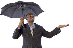 Under the Umbrella. Young black businessman looking confident under an umbrella royalty free stock photos