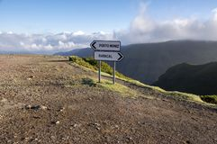 Under the valley, signpost on parking place, Rabacal, Madeira island, Portugal Royalty Free Stock Photos