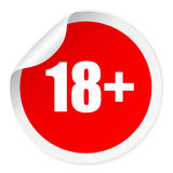 Under 18 vector sticker. Under 18 vector round sticker Stock Photography
