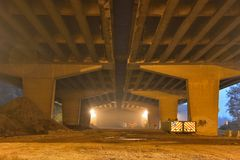 Under a viaduc , morning scene. Under a viaduct ,misty morning scene, One of the longest viaducts in Belgium, A desolate place Royalty Free Stock Images
