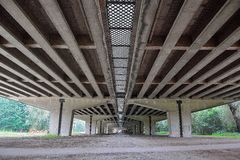 Under a viaduc , morning scene. Under a viaduct , morning scene, One of the longest viaducts in Belgium, A desolate place Royalty Free Stock Photography