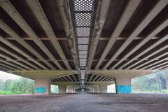 Under a viaduc , morning scene. Under a viaduct , morning scene, One of the longest viaducts in Belgium, A desolate place Stock Images