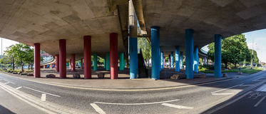 Under The Viaduct A Panoramic Urban View Stock Photo