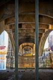 Under view of the bridge carrying the Boston T in Massachusetts royalty free stock photo