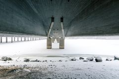 Under the `Vuosaari` bridge in Helsinki, Finland on a cold winter day royalty free stock images