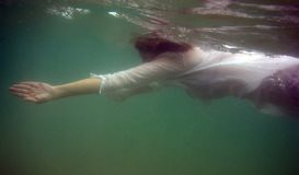 Under water. Young woman swimming under water in the sea Stock Photography