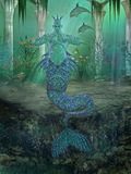 Under water. Illustration of neptun under water royalty free illustration