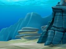 Under water. Illustration of under water background Stock Photo