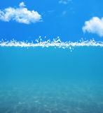 Under water blue background with cloud Stock Photo