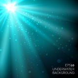 Under water blue deep ocean vector background with bubbles and sunshine rays Royalty Free Stock Photos