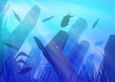 Under water city. City dived, submarine view of a dived city Royalty Free Stock Photo