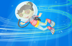 Under water girl. Illustration of under water girl Royalty Free Stock Image