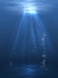 Under water Light. Underwater scene Light with bobles Royalty Free Stock Image