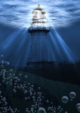 Under Water Lighthouse Royalty Free Stock Images