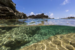 Under water from Saint Martin Sint Maarten Beaches, Caribbean. Best underwater photography Saint Martin Sint Maarten Beaches in Caribbean stock photo