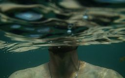 Under the water. Swim under water stock photo