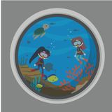 Under Water world illustration Vector Art Logo Template and Illustration. Simple and unique Under Water world illustration for various purposes, for best use Stock Images