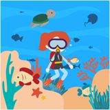 Under Water world illustration Vector Art Logo Template and Illustration. Simple and unique Under Water world illustration for various purposes, for best use Royalty Free Stock Images