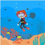 Under Water world illustration Vector Art Logo Template and Illustration. Simple and unique Under Water world illustration for various purposes, for best use Stock Photography