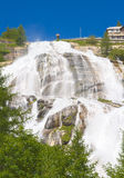 Under a waterfall, toce river. View of a river on alps, toce waterfall Stock Photo