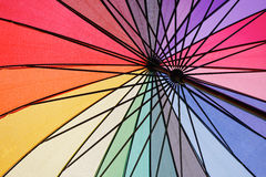 Under the wet colorful umbrella. Beautiful Royalty Free Stock Photos