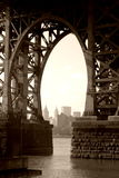 Under the Williamsburg Bridge. View of lower Manhattan from Williamsburg, Brooklyn Royalty Free Stock Image