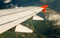 Under the wing of airplane Royalty Free Stock Photo