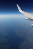 Under the wing of the plane Royalty Free Stock Photo