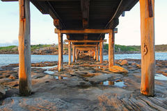 Under the wooden bridge at La Perouse, Sydney, Australia Royalty Free Stock Photography