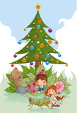 Under Xmas Tree vector illustration