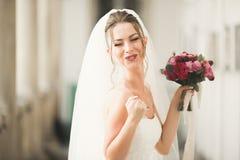 Underbar brud med en lyxig vit klänning som poserar i den gamla staden royaltyfria foton
