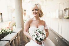 Underbar brud med en lyxig vit klänning som poserar i den gamla staden Fotografering för Bildbyråer