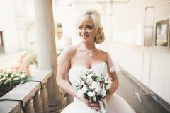Underbar brud med en lyxig vit klänning som poserar i den gamla staden Royaltyfria Bilder