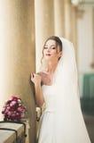 Underbar brud med en lyxig vit klänning som poserar i den gamla staden Arkivbilder