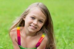 Underbar flicka sju år Royaltyfri Foto