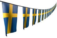 Underbar illustration för flagga 3d för nationell ferie - många Sverige flaggor eller hänga för baner som är diagonalt med perspe vektor illustrationer